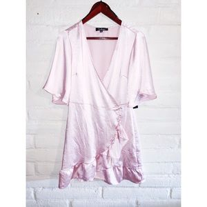 Lulu's || Blush Satin Mini Wrap Dress